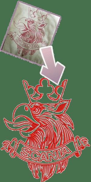 Vergleich einer Stickerei und dem original Vorbild untereinander - Wappen von Scania mit einem feuerspeienden Vogel