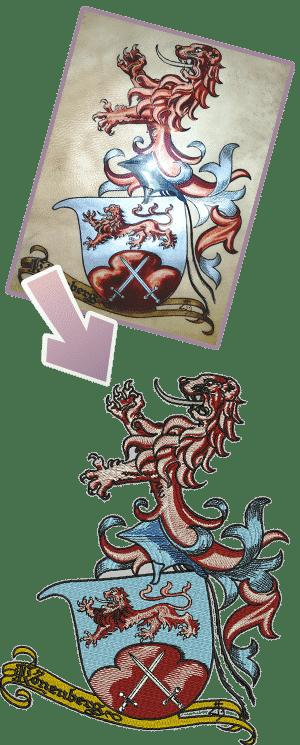 Vergleich einer Stickerei und dem original Vorbild untereinander - Wappen Kronenberg