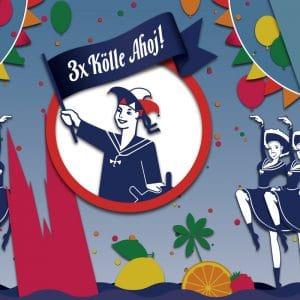 Vektorgrafik von einem Werbeplakat für Ahoi Brause auf dem Kölner Faschingsumzug