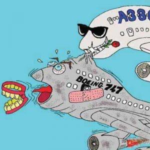 Vorlage für eine Vektorgrafik auf der ein Flugzeug ein anderes beist
