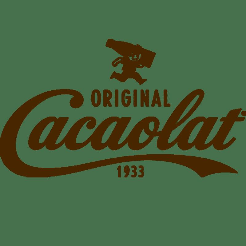 Logos von Original Cacaolat 1933 darüber ein Männchen das mit einer Flasche auf der Schulter rennt
