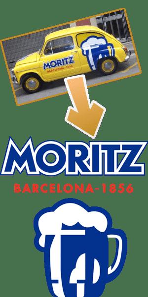 Vektorgrafik eines Firmenlogos auf einem Auto - Moritz Barcelona 1856 und einem Bierkrug