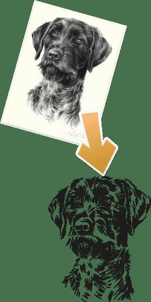 Vergleich von einer Vektorvorlage und der finalen Vektorgrafik von einem Hundekopf