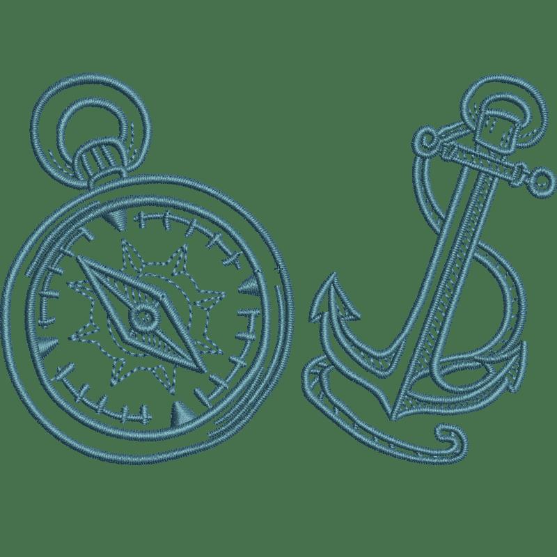 Stickdatei von Compass+Anchor