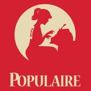 """Vektorgrafik von einer Frau die vor einer Schreibmaschine sitzt mit der Aufschrift """"Populaire"""""""